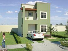 Fachadas de casas de varios estilos