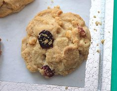 White Chocolate, Cranberry, and Macadamia Nut Cookies. Very good. Baked as bars