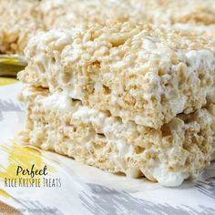 Perfect Rice Krispie Treats. The only recipe you'll ever need for soft, chewy and delicious rice krispie treats every single time!