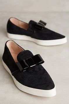 Just received these & LOVE them! So versatile & comfy for work! All Black Tux Slip-Ons #anthropologie