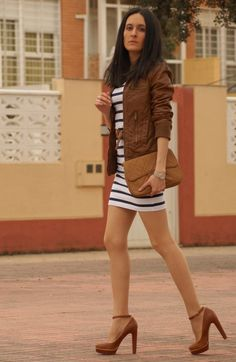 Navy stripes and brown leather