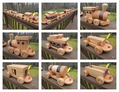 SALE 30 off! Wooden Train set 6 car Handmade toy oak and mahogany Heirloom Quality  Beautifully hand finished.