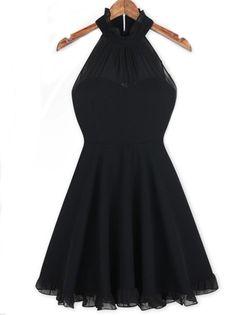 Black Sleeveless Tunic High Waist Flouncing Party Dress on fashionsure.com