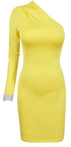 Crystal Cuff Yellow One Shoulder Bodycon Dress - Sale
