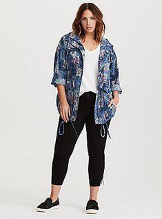 Plus Size Denim Floral Hooded Anorak Jacket, , hi-res