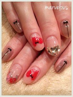 赤でシースルーネイル☆の画像 | ネイルサロン Marvelousのブログ
