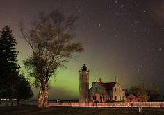 Old Mackinaw Lighthouse under the Northern Lights , Michigan, USA