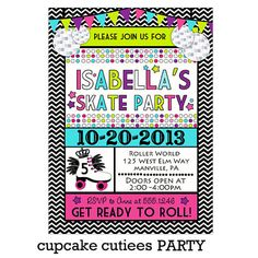 Neon Skates Roller Skating Party Digital by CupcakeCutieesParty