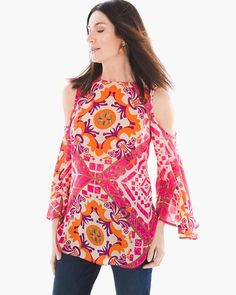 """Grand mosaic patterns dial-up the drama in this brilliant cold-shoulder blouse with a flowing fabrication.   Regular length: 29"""".  Petite length: 27.25"""".  Polyester.  Machine wash. Imported."""