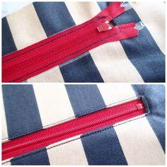 Sew a zipper pocket into liner