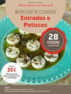 Cartaz do workshop Entradas e Petiscos a 28 de Fevereiro de 2015 em Lisboa.