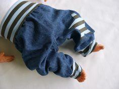 Pumphosen - Pumphose fürs Baby Gr. 62 weiche Jeans Hose Stern - ein Designerstück von traumgenaeht bei DaWanda