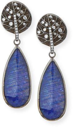 Michael Aram Botanical Leaf Lapis & Diamond Drop Earrings