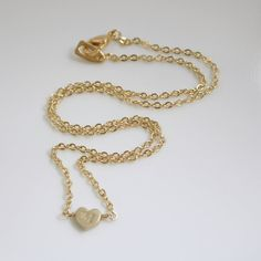 Custom Initial Necklace Small Heart Necklace Gold Valentine Jewelry