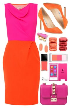 """Look # 715"" by lookat ❤ liked on Polyvore featuring Roksanda Ilincic, Valentino, Manolo Blahnik, Illamasqua, RMK, Tory Burch, Kendra Scott, Ladurée, bright and colormix"