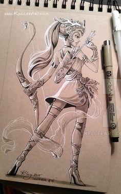 Warrior girl drawing in pen