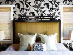 Custom Headboard and Bedding - 10 Bedroom Trends to Try on HGTV. I would like to make this headboard. Bedroom Colour Palette, Bedroom Colors, Bedroom Decor, Bedroom Ideas, Master Bedroom, Custom Headboard, Headboard Designs, Headboard Ideas, Diy Headboards