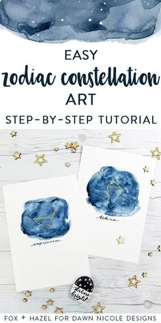 How To Paint Zodiac Constellation Art- Fox + Hazel for Dawn Nicole Designs -Pinterest #watercolor #watercolortutorial
