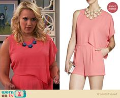 Gabi's coral draped romper on Young and Hungry.  Outfit Details: http://wornontv.net/34736/ #YoungandHungry