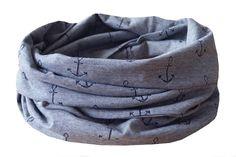 Loop- eleganter Schlauchschal, Loop aus einem hochwertigen,weichen Jersey von Westfalenstoffe, mit einem Anker-Motiv  ca. 142cm x 25cm  Waschbar bis 30°