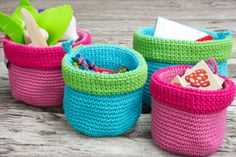 Crochet baskets in bright colours: great to use for in a nursery Crochet Baskets, Trendy Kids, Bright Colours, All Design, Kids Rooms, Pattern Design, Baby Shoes, Nursery, Organization