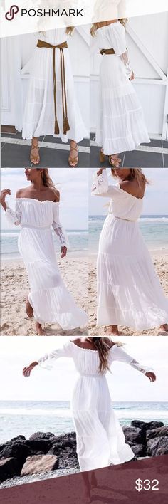 White Off The Shoulder Boho Gypsy Dress White Off The Shoulder Boho Gypsy Dress. This dress is perfect for feeling ultra cute and put together on a summer day with minimal effort. Does not come with the belt. Dresses Maxi