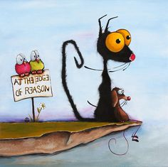 At The Edge Of Reason Painting  - So cute and whimsical. I love this artwork!