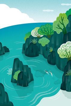 Mutsumi Kawazoe on Behance . Summer . Beach . Swim in to the sea . Illustrations .