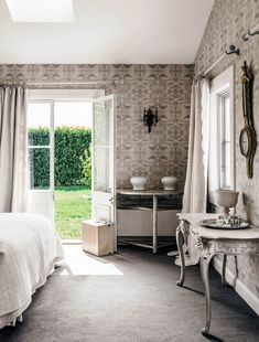 Bedroom in a French-inspired Country House | Belle Window Pane Frame, Neutral Bedrooms, Shabby Chic Decor, Shabby Chic Cottage, Cottage Homes, November 2015, Beautiful Interiors, Beautiful Bedrooms, Demilune Table