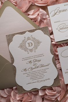 ABIGAIL Suite // STYLED // Ornate Shape Fancy Package, glitter wedding invitations, blush and gold, monogram, traditional, modern, script text