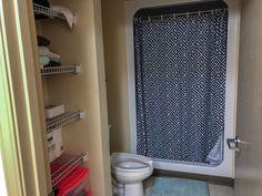ridgecrest south bathroom - Google Search Dorm Hacks, Home Appliances, Curtains, Shower, Cabinet, Bathroom, Storage, Furniture, Home Decor