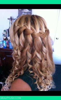 Im thinking I may want to do my hair like this for Brad Hollys wedding. Curled waterfall braid   Sommer S.s Photo   Beautylish