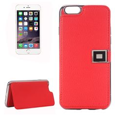 [$3.50] For iPhone 6 & 6s Litchi Texture Horizontal Flip Leather Case with Holder & Card Slots(Red)