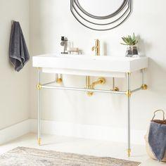Contemporary Bathroom Designs, Modern Bathroom, Bathroom Sinks, Brass Bathroom, Bathroom Ideas, Bathroom Interior, Small Bathroom, Master Bathroom, Basement Bathroom