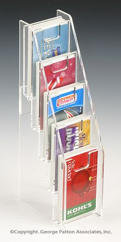 Single pocket business card holder for tabletop for vertical 5 tiered acrylic gift card display for tabletops with notched pockets clear business card holder featuring 5 vertical pockets colourmoves