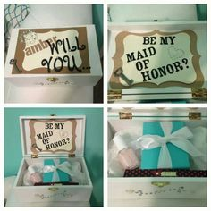 Made of honor box awesome Bridesmaid Boxes, Be My Bridesmaid, Bridesmaid Gifts, Bridesmaids, Bridesmaid Proposal, Tiffany Gifts, Made Of Honor, Bear Wedding, Cute Wedding Ideas