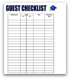 Free printable birthday party guest list planner party for Graduation party checklist template