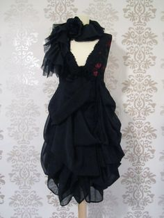 MADEILENA Black Floral Embroidery Fine Lace by FoldedRoses on Etsy, $198.00