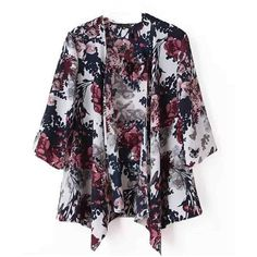 Vintage Women Half Bat Sleeve Floral Printed Loose Cardigan ($217,572) ❤ liked on Polyvore featuring tops and cardigans