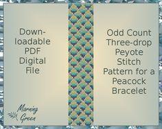 Peacock Peyote Bead Pattern, Peacock Odd Count, Three-Drop Peyote Pattern