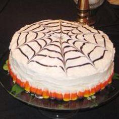 """Pumpkin """"spiderweb"""" cheesecake."""