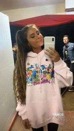 Camila Gallardo, Super Long Hair, Curly, Vogue, Graphic Sweatshirt, Long Hair Styles, Sweatshirts, Sweaters, Hairstyles