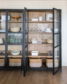 Maddox Cabinet – McGee & Co. Large glass doors not only allow your favorite pieces to remain protected while still on display, but also give a glimpse into the Maddox Cabinet's two-toned, black-drifted oak exterior and interior. Muebles Living, Home Interior, Interior Design, Kitchen Remodel, Kitchen Design, Bookcase, Room Decor, Decoration, House Styles