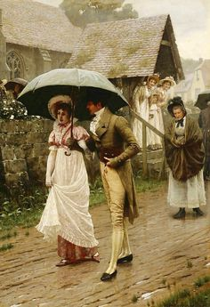 A Wet Sunday Morning (Genre painting of early 19th century or Regency scene, with young man walking a young woman home under an umbrella, while two other young women look on interestedly from the church porch.) --1896 -- Edmund Leighton (1853–1922)