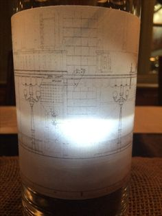 Blueprint luminary bags architect blueprint luminaries contractor architectural blueprint wrapped around a vase on vellum paper for that glow with an led tealight malvernweather Choice Image