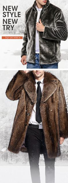 25669068e72 Free Shipping   New Try Mens Luxurious Trendy Faux Fur Coat Winter  Thickened Warm Mid Long