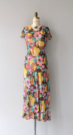 Bright Isla dress 1930s silk floral dress vintage by DearGolden