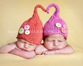 Gnome hats with buttons! Like the shape of these gnome hats. Click on the link for more cute baby pictures featuring funny hats :D
