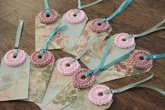 pretty crochet tags = scrapbook paper, yarn & ribbon