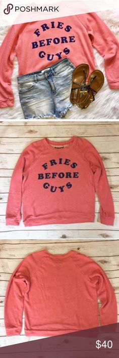 """Fries Before Guys"" Crew Neck Sweater 🌟 ""Fries Before Guys"" Crew Neck Sweater by Mighty Fine. 90% Cotton and 10% Polyester. Size XL.  (Shorts available-listed under another listing!) Mighty Fine Sweaters Crew & Scoop Necks"